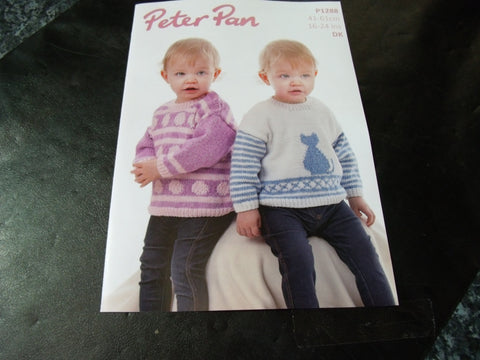 Peter Pan Sweaters in Double Knitting Pattern P1288