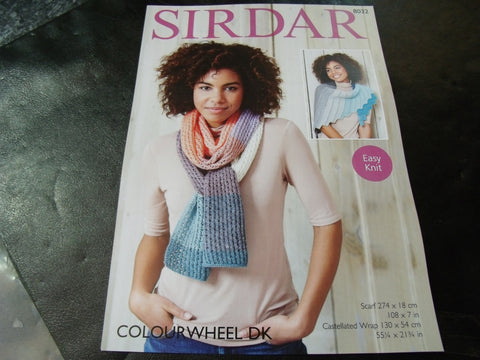 Sirdar  Colourwheel Double Knitting Pattern 8032 Scarf and Wrap