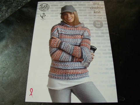 King Cole Double Knit Pattern 4853 Ladies' Hoodie and Sweater