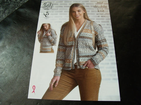 King Cole Double Knit Pattern 4854 Ladies Cardigans
