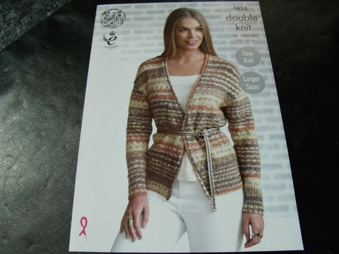 King Cole Double Knit Pattern 4855 Ladies Cardigan and Waistcoat