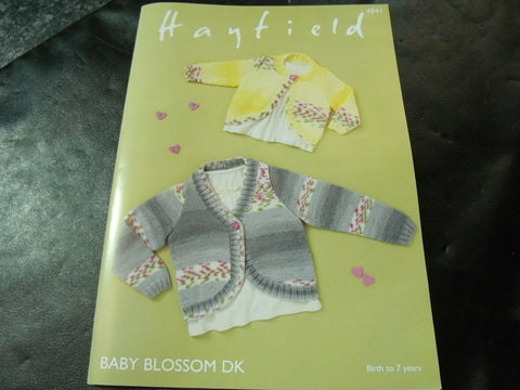 Hayfield Baby Blossom Double Knitting Cardigans Pattern 4841