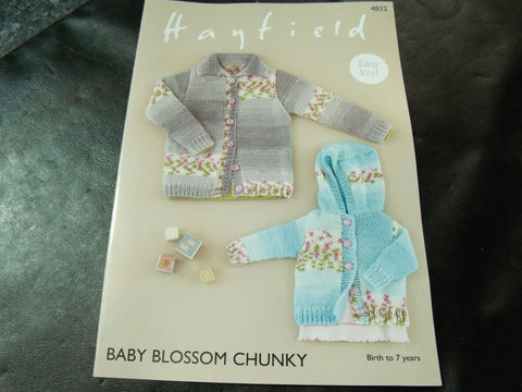 Hayfield Baby Blossom Chunky Easy Knit Cardigan Pattern 4832