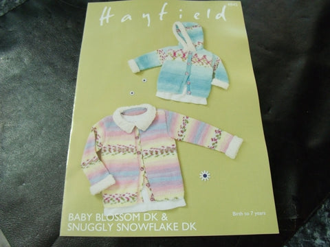 Hayfield Baby Blossom Double Knitting Jackets Pattern 4845
