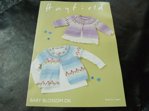 Hayfield Baby Blossom Double Knitting Cardigans Pattern 4843