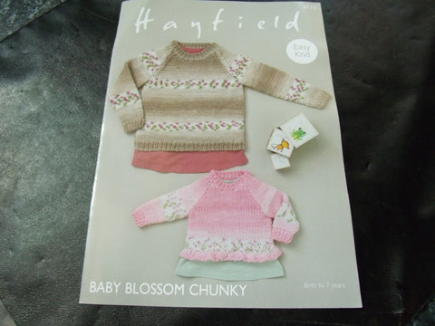 Hayfield Baby Blossom Chunky Easy Knit Sweaters Pattern 4715