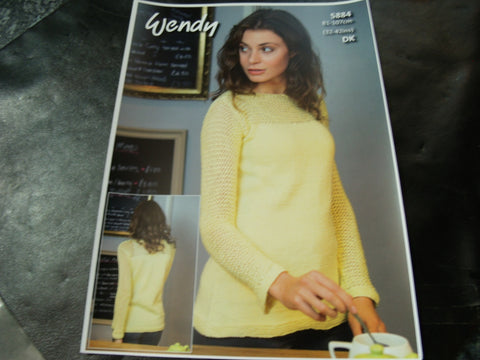 Wendy Double Knit Pattern 5884 Mesh Sleeve Sweater