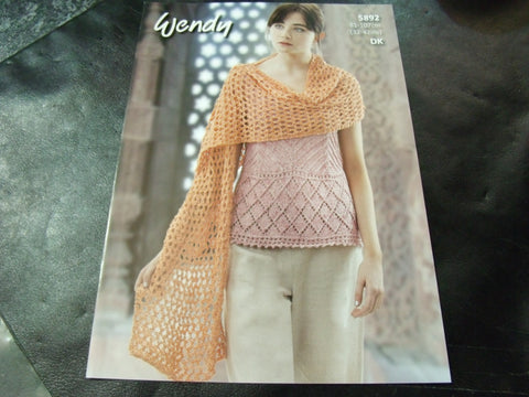 Wendy Double Knit Pattern 5892 Camisole Top and Shawl