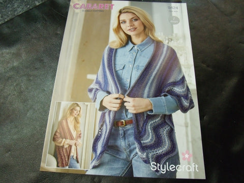 Stylecraft Double Knitting Pattern 9424 Two Designs One Size Shawls