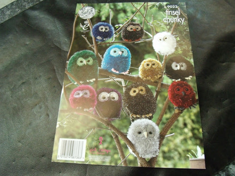 King Cole Tinsel Chunky Owl Knitting Pattern 9022