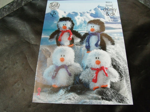 King Cole Tinsel Chunky Penguin Family Knitting Pattern 9025