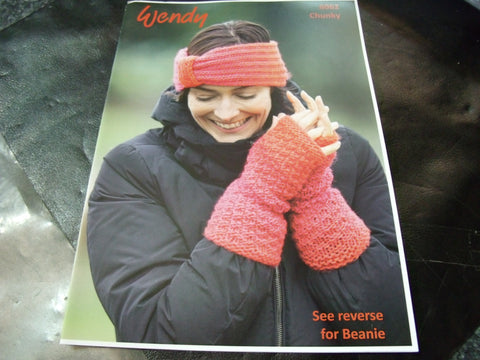 Wendy Chunky Headband, Wrist Warmers and Beanie Hat Pattern 6062