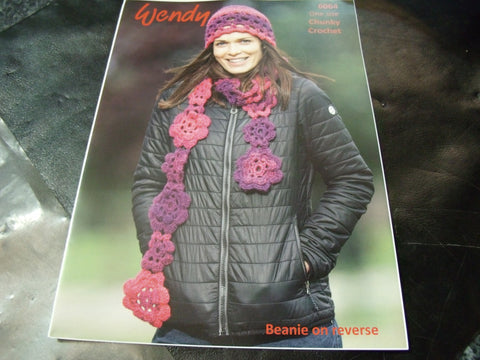 Wendy Chunky Open work hat, Scarf and Beanie Crochet Pattern 6064