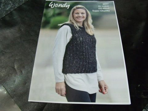 Wendy Super Chunky Knitting Pattern 6077
