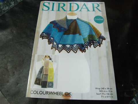 Sirdar Colourwheel Double Knit Crochet Pattern 8082 Scarf and Wrap