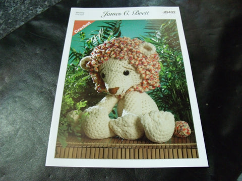 James C Brett Chunky Crochet Pattern JB402 Rory The Lion