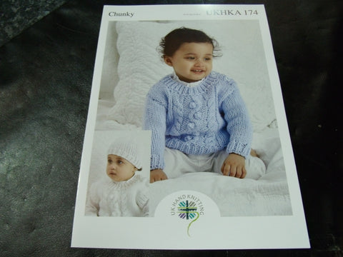 UKHKA Chunky Knitting Pattern 174 Sweater, Slipover and Hat