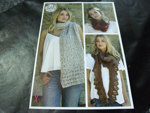 King Cole Chunky Pattern 4863 Scarf, Shawl and Snood