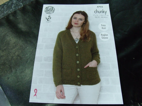 King Cole Chunky Pattern 4703 Easy Knit Raglan Sleeve
