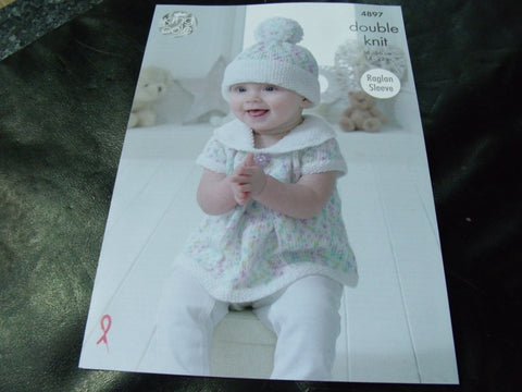 King Cole Double Knit Pattern 4897 Baby Set with Raglan Sleeve