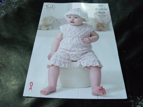 King Cole Double Knit Pattern 4901 Baby Set