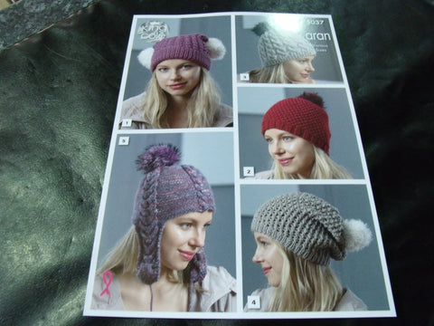 King Cole Aran Hats Pattern 5037