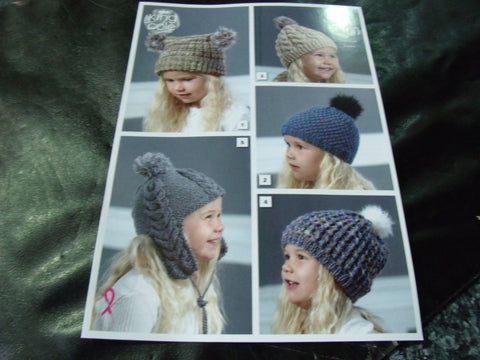 King Cole Aran Hats Pattern 5100 4 - 12 Years