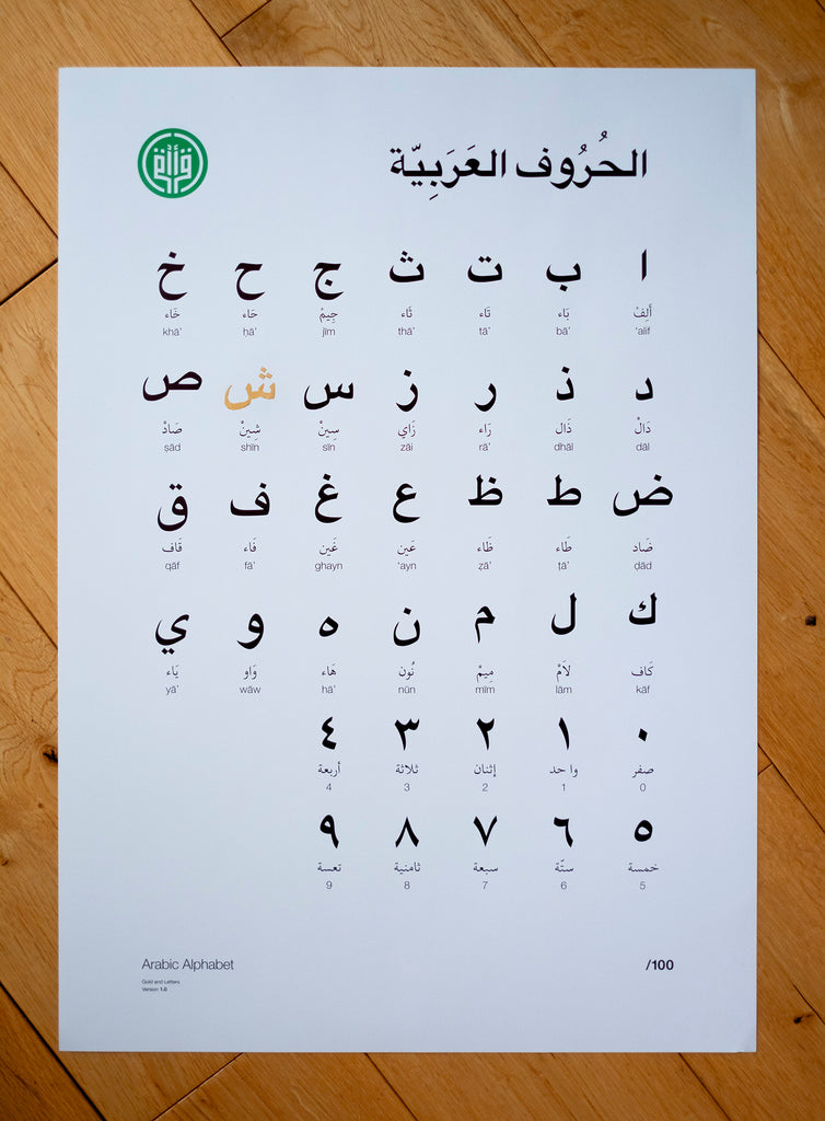 Arabic Alphabet, with one golden letter