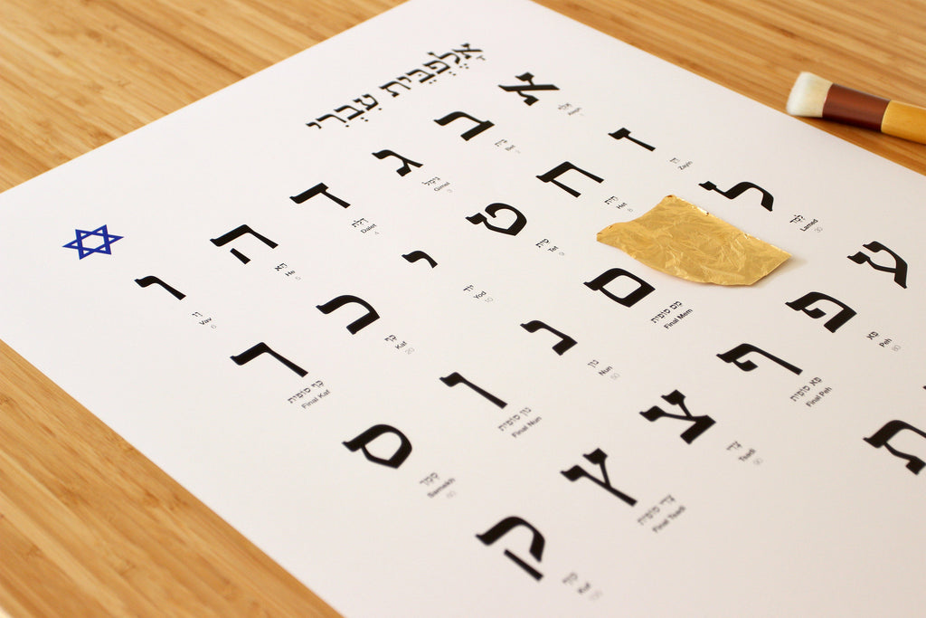 Hebrew alphabet with one golden letter u gold and letters