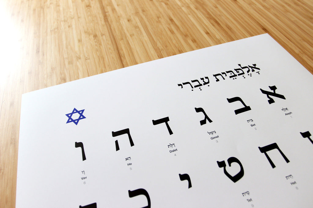 Hebrew Alphabet, with one golden letter