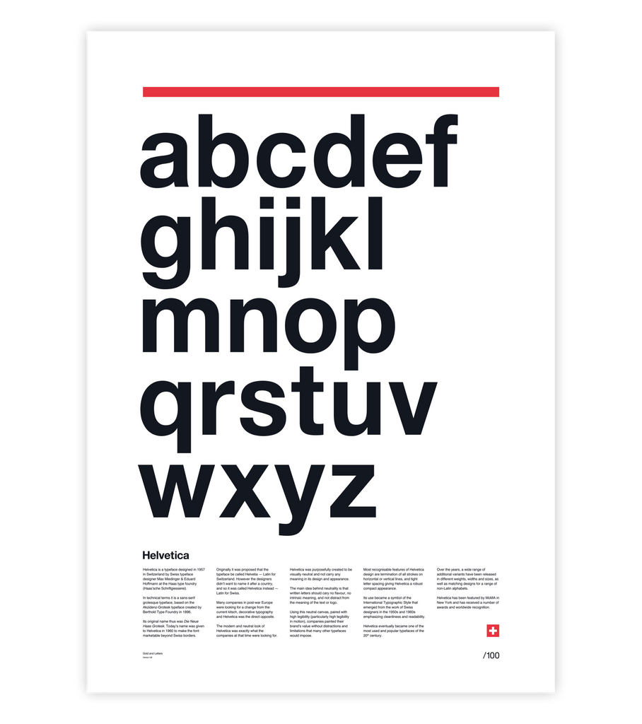 Helvetica, with one silver letter