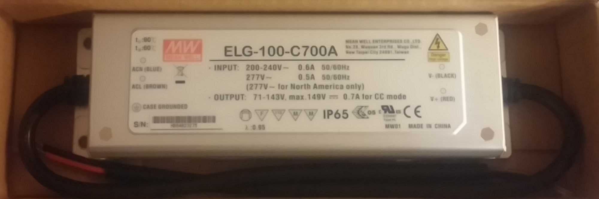 Meanwell ELG-100-700A Waterproof LED Driver