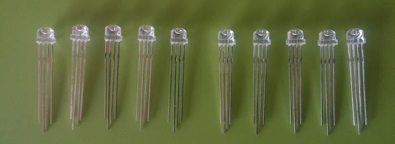 5mm RGB Straw-hat LED (Common-Anode) - 10 Pack