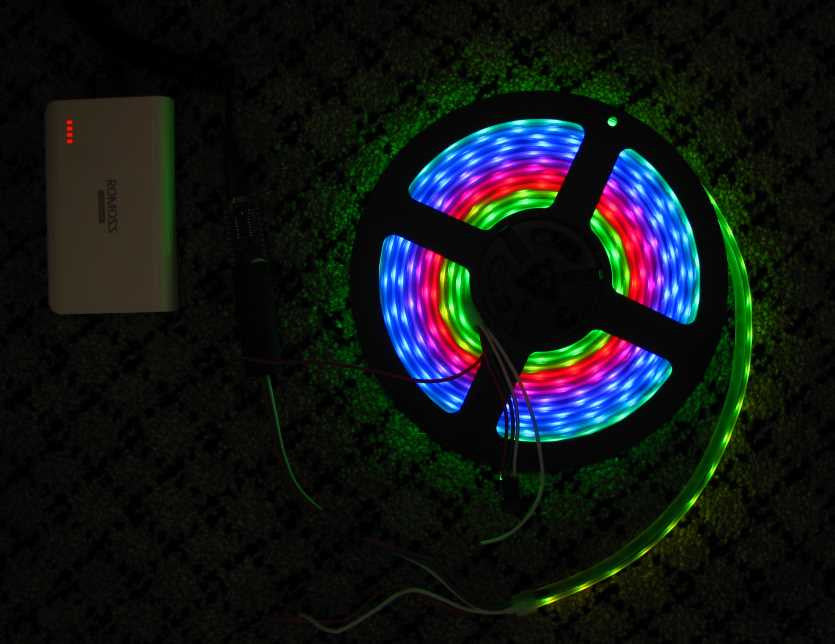 5 metres Addressable RGB LED Strip (WS2812B, 5V input, 60 LEDs/m, Waterproof)