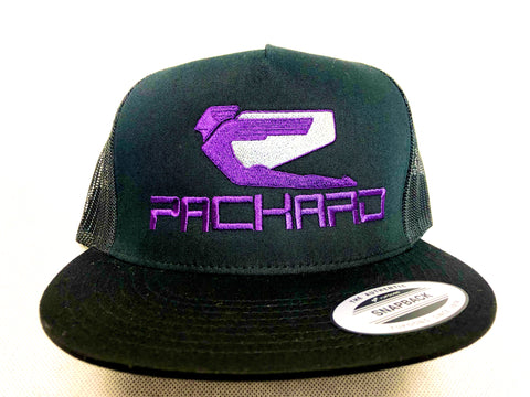 Packard Performance Embroidered Trucker Hat Flat Brim Purple Logo