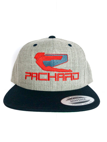 Packard Performance Snap Back Grey Embroidered Logo Flat Brim