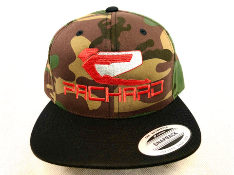 Packard Performance Flex Fit Snap Back Hat Camo Embroidered Logo Flat Brim