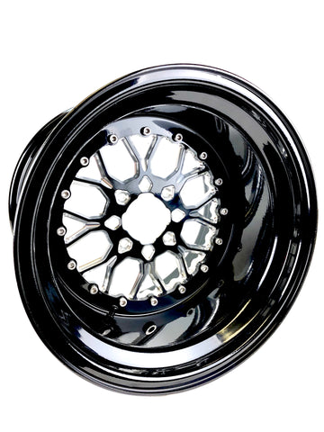 *Wishbone - Gloss Black by Ultra Light for Yamaha YXZ 1000R 4x110 W/FREE LUG NUTS