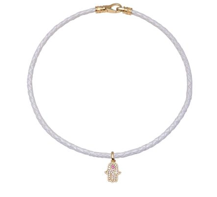 Nialaya leather choker with hamsa