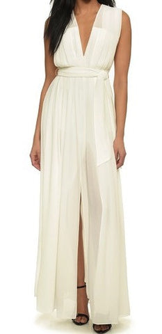 L'Agence long deep v pleated dress
