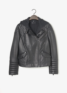 Vince Womens leather moto jacket with detatchable hood
