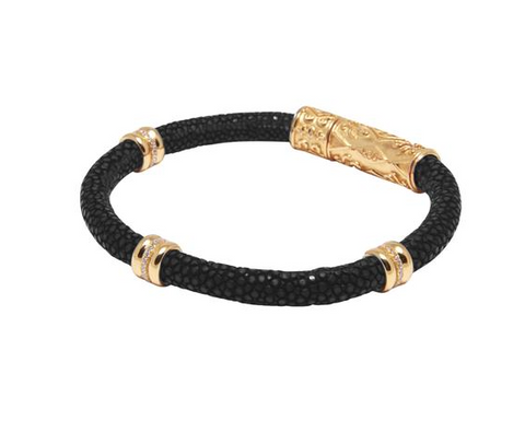 Nialaya mens stingray bracelet w/ gold accents