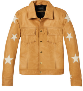 Scotch & Soda womens embroidered leather shirt jacket