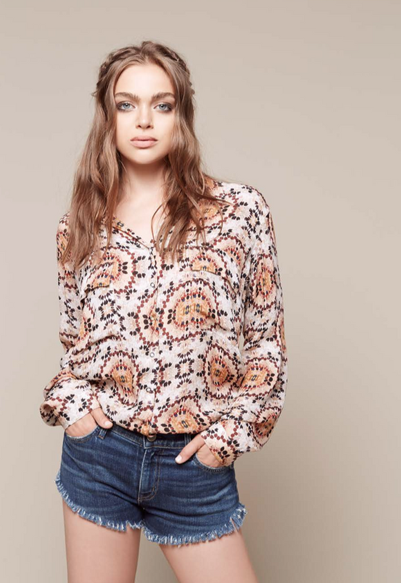 L'Agence soleil french cuff blouse