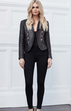 L'Agence sorel leather double breasted blazer