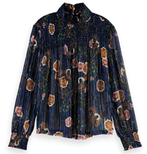 Scotch & Soda printed lurex smock blouse