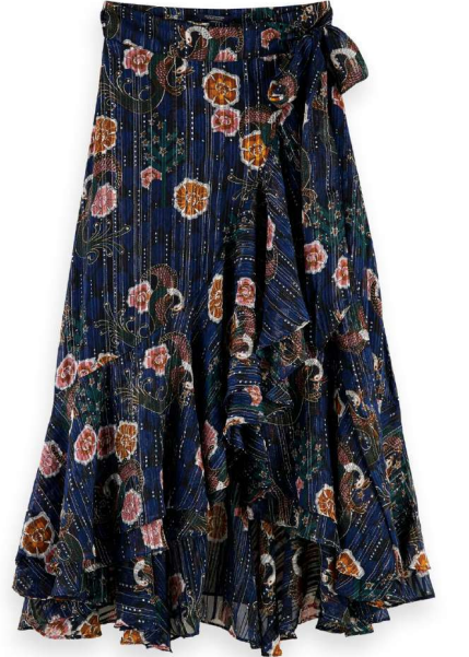 Scotch & Soda printed wrap skirt