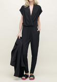 L'agence deep v long pleated dress