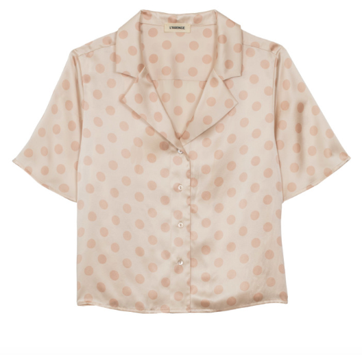 L'AGENCE theo oversized crop blouse