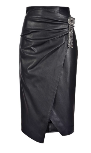 Pinko faux leather midi skirt